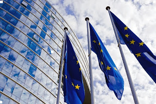 EU Flags at the European Commission Building