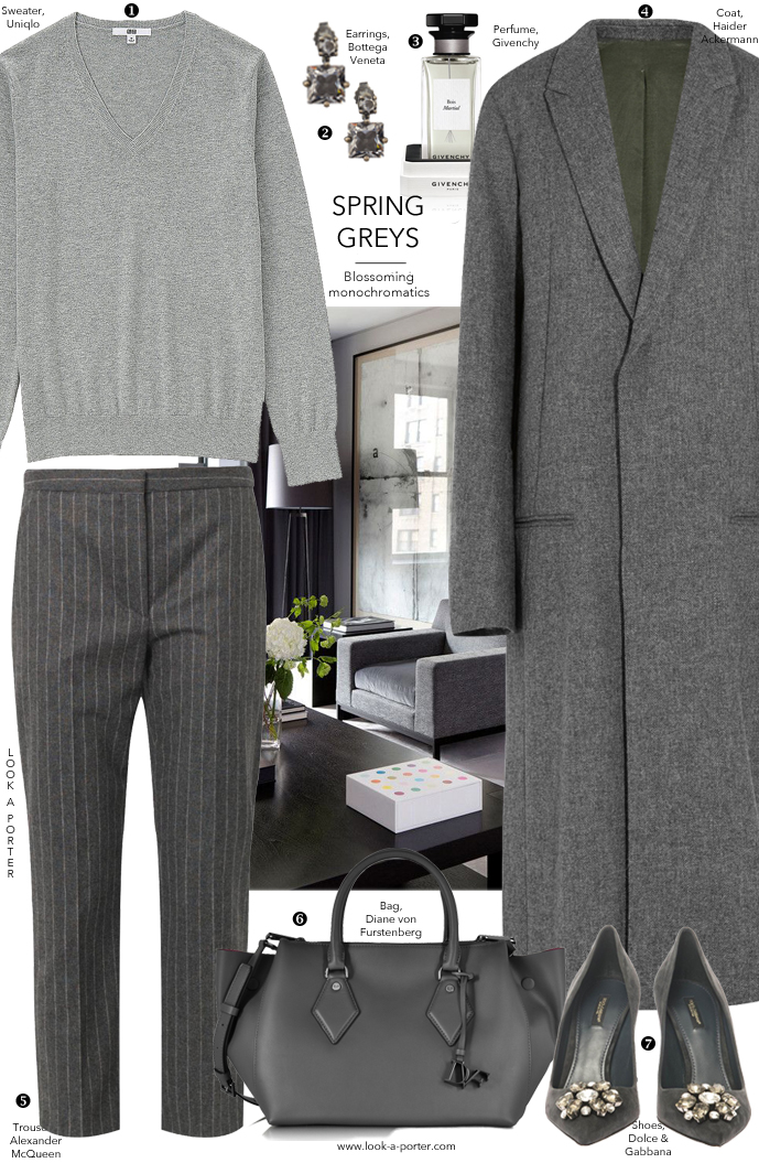 styling an all-grey outfit idea for spring via www.look-a-porter.com / Shop Diane von Fursternberg, Haider Ackermann, Givenchy, Bottega Veneta, Dolce & Gabbana, Alexander McQueen