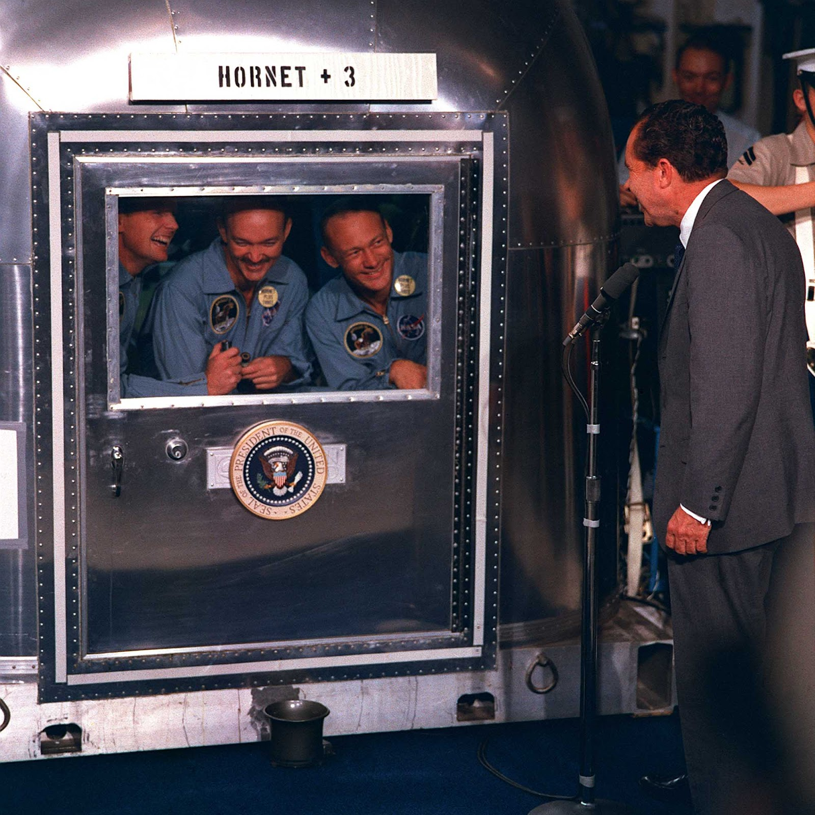 President Nixon greets the returning Apollo 11 astronauts, 1969.