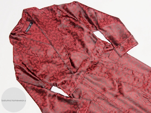 mens lightweight silk dressing gown paisley burgundy red traditional english robe man smoking jacket housecoat summer
