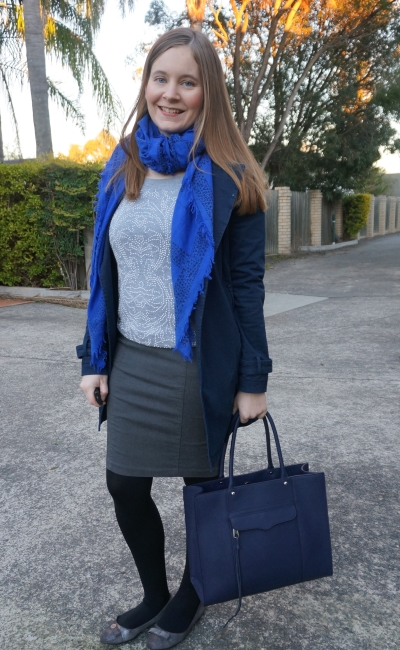 monochrome winter office outfit with blue accessories grey beaded jumper pencil skirt | AwayFromBlue