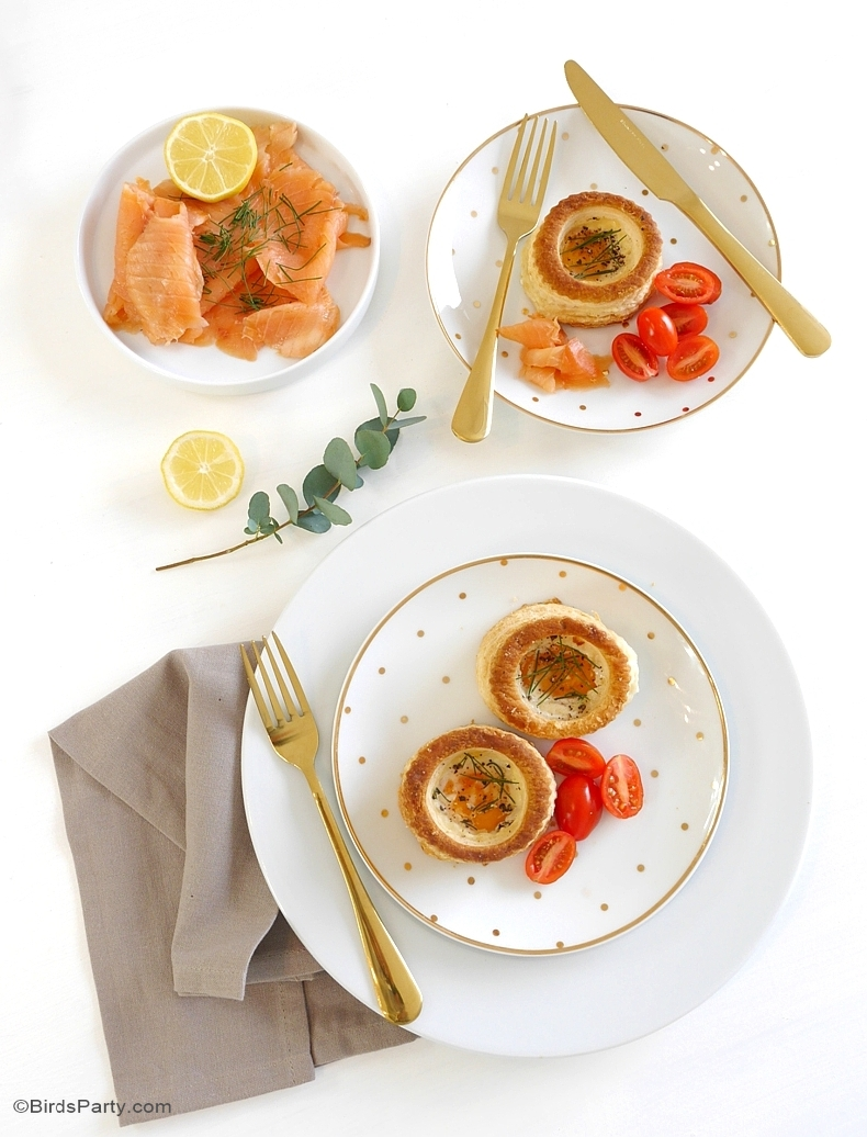 Brunch Recipes: Smoked Salmon & Chives Vol-au-Vent Baked Eggs - BirdsParty.com