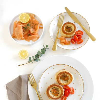 Smoked Salmon Vol-au-Vent Baked Eggs Recipe