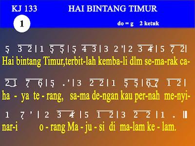 Lirik dan Not Kidung Jemaat 133 Hai Bintang Timur