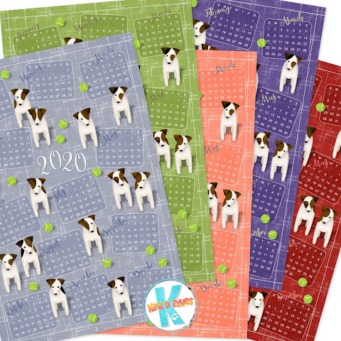 Parson Jack Russell Terriers with tennis balls - see more 2020 calendar color variations in my Spoonflower shop
