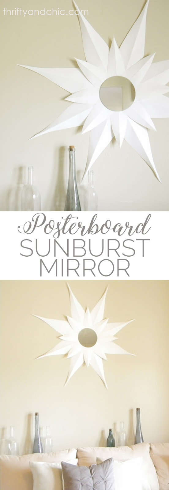 sunburst mirror made from poster board! DIY mirror tutorial