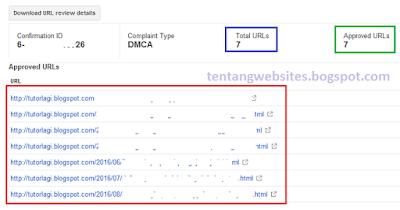 Cara melihat hasil laporan DMCA di Webmaster