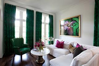 sala decoración verde