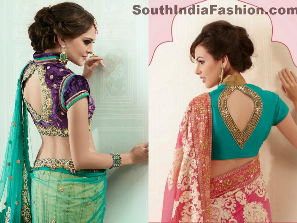 Stand Neck Blouse Designs : Stylish back neck saree blouses south india fashion