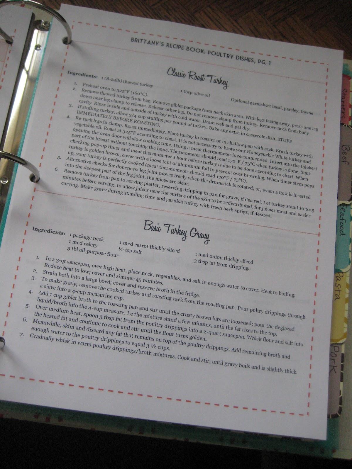 recipe binder templates