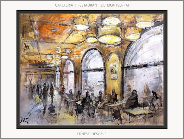 MONTSERRAT-PINTURA-CAFETERIA-RESTAURANT-CAFETERIES-PAISATGES-CATALUNYA-INTERIOR-QUADRES-PINTURES-ARTISTA-PINTOR-ERNEST DESCALS-