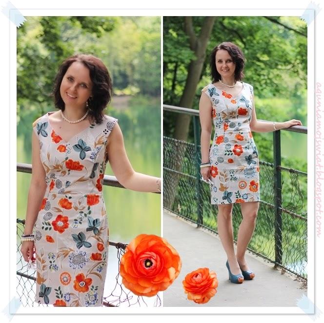 Sukienka w kwiaty uszyta z wykroju Burda 01/2013 model 107
