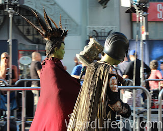 Jamie Lee Curtis and her son arrive in costume