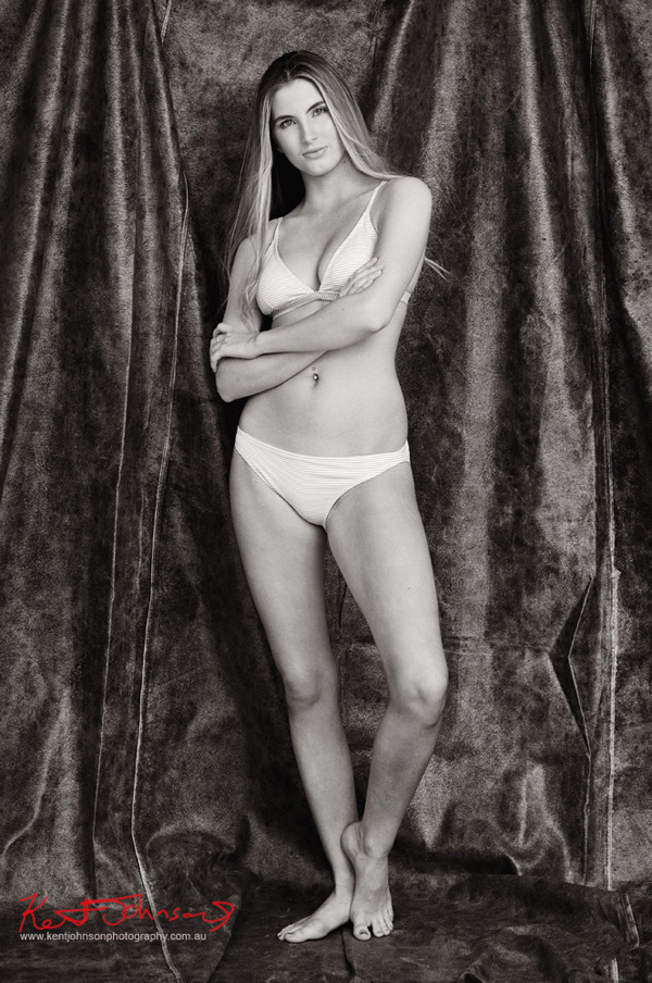 Full length studio swimwear modelling shot in black and white, Fitness & Fashion by Kent Johnson, Sydney, Australia.