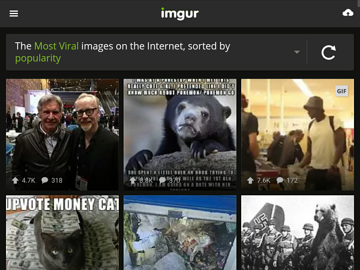 Imgurのウェブのトップページ