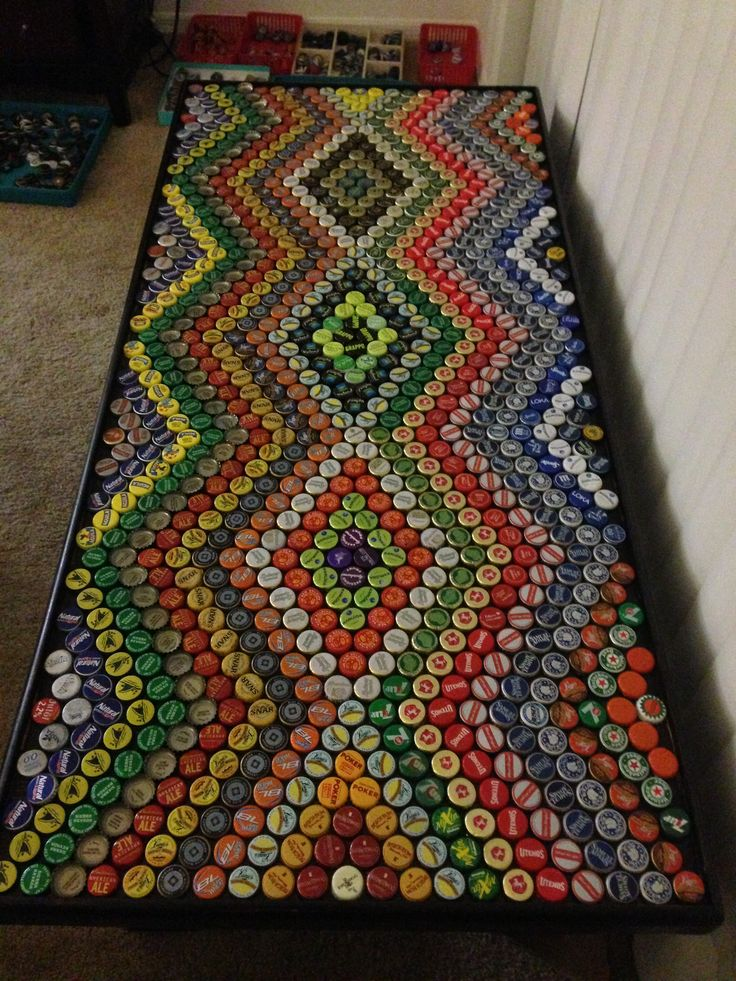 How to Recycle: Bottle Cap Design on Table, Floor and Walls