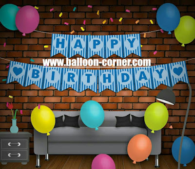 Bunting Flag Segilima HAPPY BIRTHDAY Warna Biru