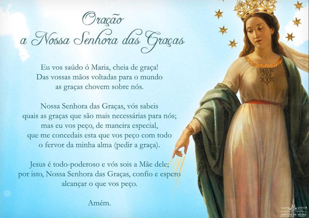 Oração De Nossa Senhora Aparecida Para Alcançar As Suas: Deus Me Conforta: Oração A Nossa Senhora Das Graças