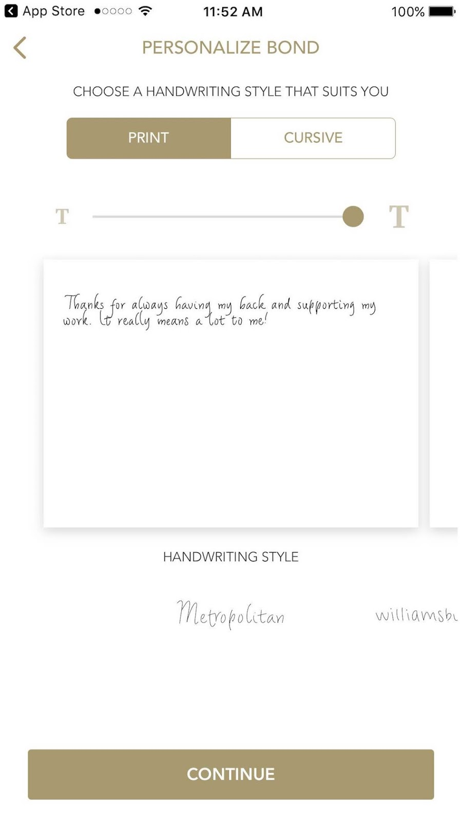 This is a screenshot of the first step to creating your own handwritten note, which includes picking the font you'd like in the note.