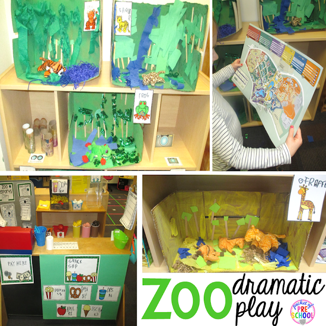 Zoo Dramatic Play fun for a zoo theme. Desert art FREEBIE. Prefect for preschool, pre-k, and kindergarten