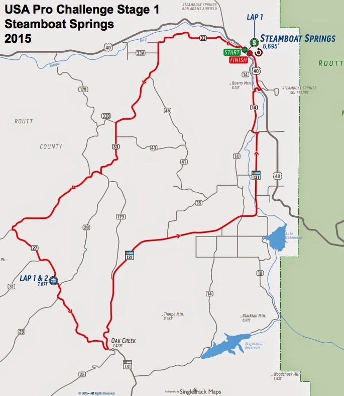 USA Pro Challenge Stage 1 route map 2015