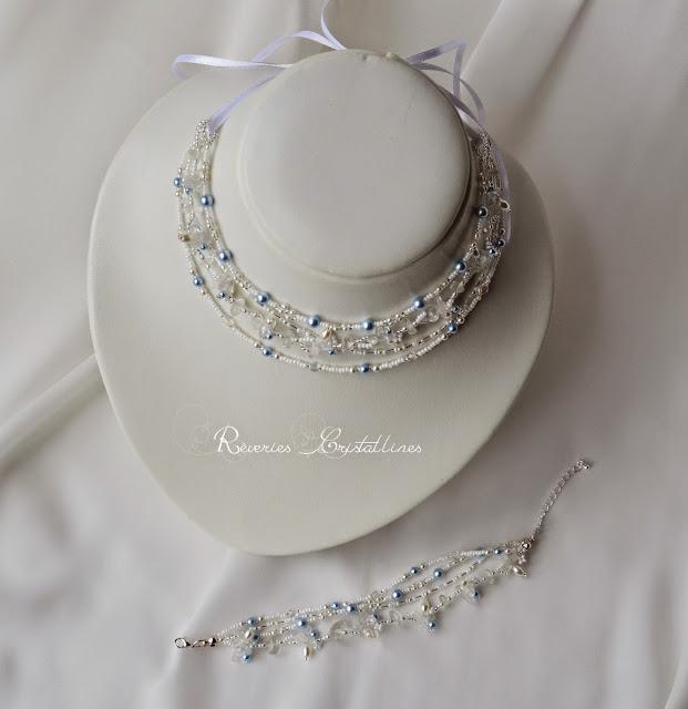 collier et bracelet mariée cristaux et perles nacrées, ruban blanc