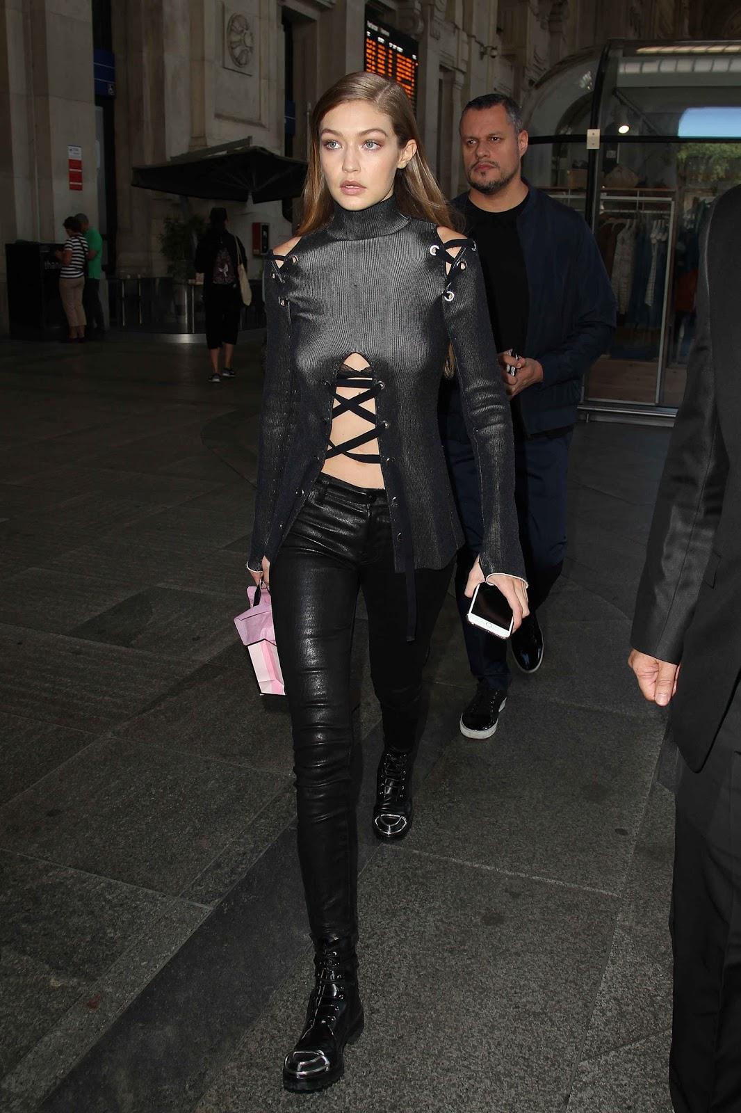 Gigi Hadid Walkign Out in Milan