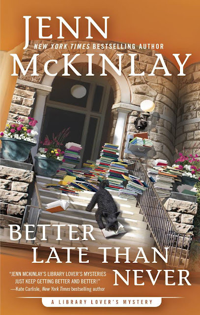 Cover for the book Better Late than Never-- A Library Lover's Mystery by Henn McKinlay,  Exterior image of a town home surrounded by stacks of books and a dog ripping through one one them.