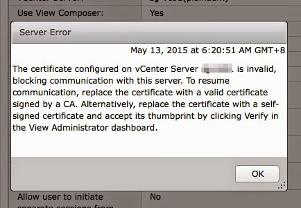 Plain Virtualization: Unable to verify certificate for vCenter on
