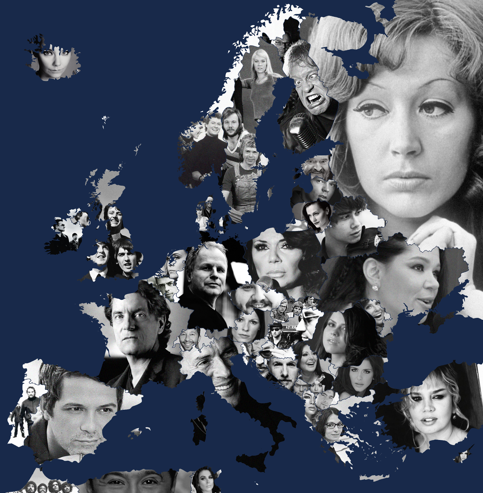 Most successful music artist from each European country