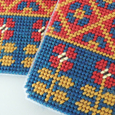 Tent stitch on plastic cnavas in fair isle design
