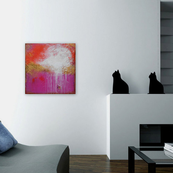 home decor wall art painting in pink