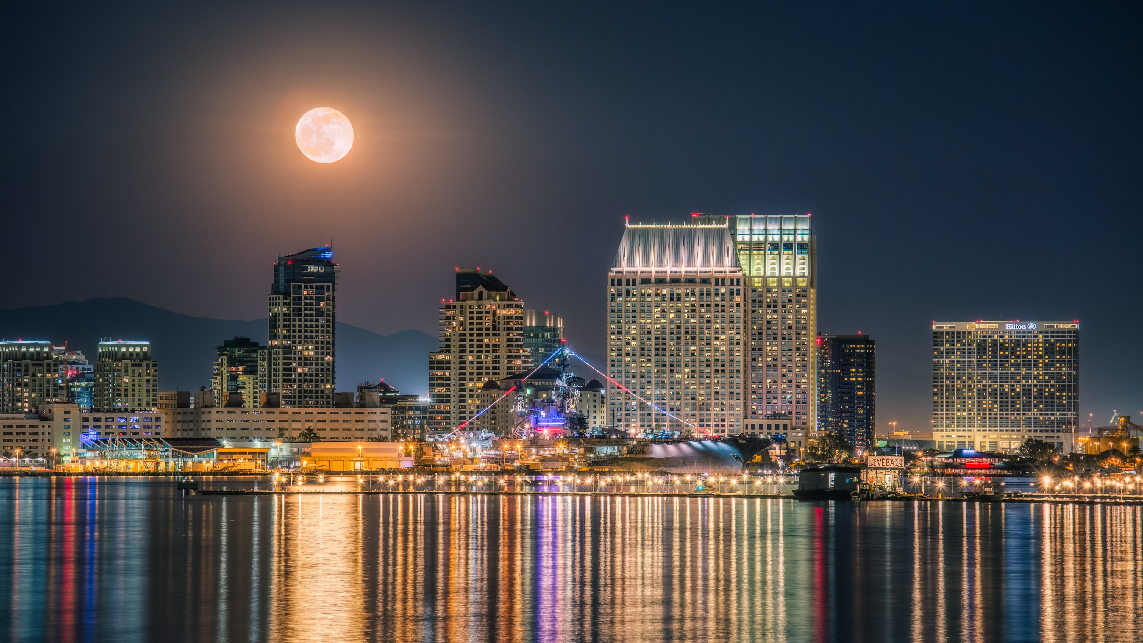 Full Moon above the City widescreen wallpaper | Wide-Wallpapers.NET