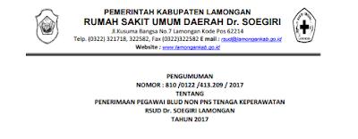 Penerimaan Pegawai BLUD NON PNS Tenaga Keperawatan RSUD Dr.Soegiri Lamongan Tahun 2017