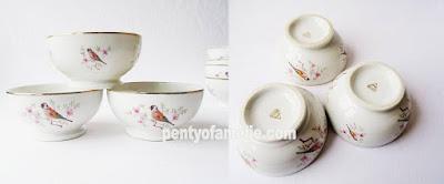 Porcelain Cafe Au Lait Bowls Nightingale Bird With Tiny Flowers,  Breakfast Coffee Bowl Breakfast, Transferware pattern, Medium size by CG Porcelain france.
