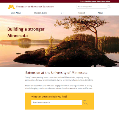 preview of university of Minnesota extension new website.