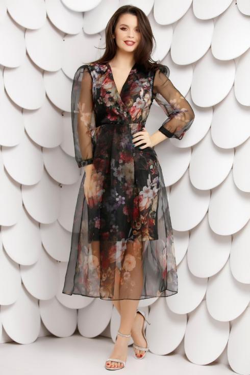 Rochie de ocazii neagra cu imprimeu floral si voal imprimat peste