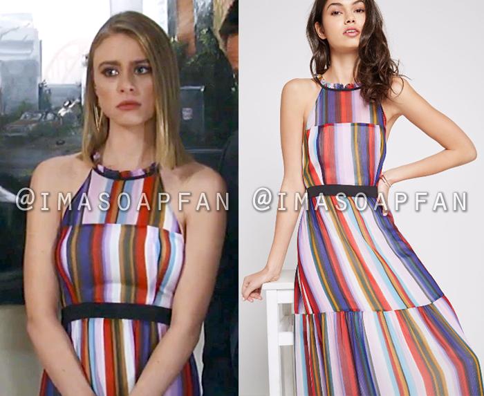Kiki Jerome, Hayley Erin, Rainbow Striped Halter Dress, General Hospital, GH