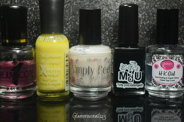 Duri Rejuvacote, Sally Hansen Xtreme Wear Mellow Yellow, Bliss Kiss Simply Peel Latex Barrier, Mundo De Unas White, Glisten & Glow HK Girl Fast Drying Top Coat