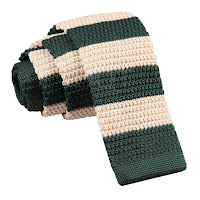 MENS KNITTED GREEN AND CREAM STRIPED TIE