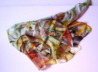 apaszka jedwabna, elementy roślinne, liście , arabeski