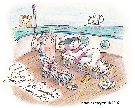 Melanie Kobayashi, sketch of Turnip Head on a cruise