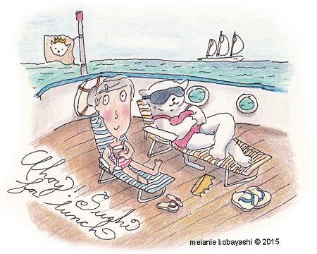 Melanie Kobayashi, sketch of Turnip Head on a cruise