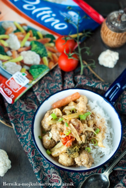poltino, mieszanka warzyw, curry, mleko kokosowe, warzywa na patelnie, bernika, kulinarny pamietnik, warzywa