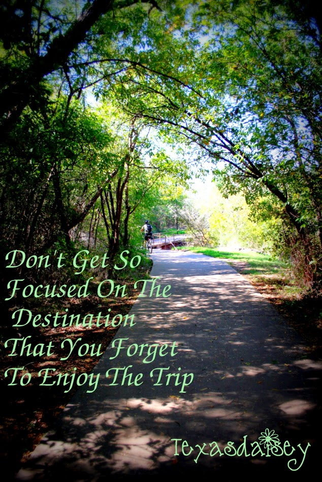 Don't get so focused on the destination that you miss the trip