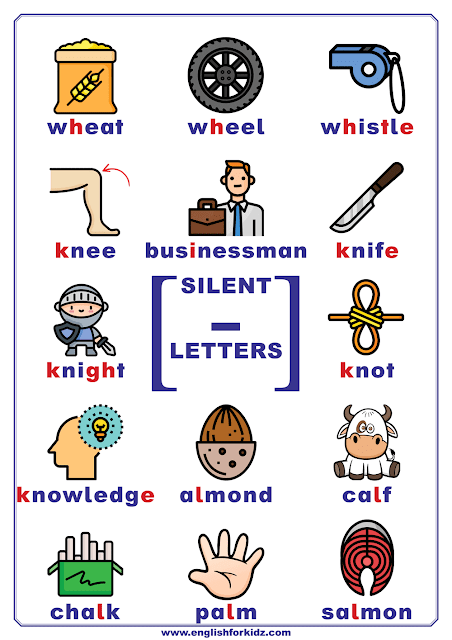 Silent letters in English - chart listing words with silent letters h, i, k, l