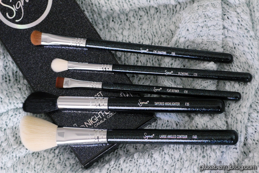 NIGHTLIFE BRUSH SET - SPARKLE BLACK sigma review blog גלוסברי בלוג סקירת מברשות סיגמא e25 e55 e15 f35 f40