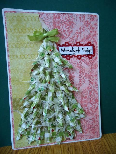 kartka na boże narodzenie z przestrzenną choinką, ręcznie robiona kartka z choinką