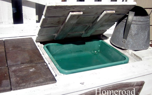 green tub for soil in top of bench