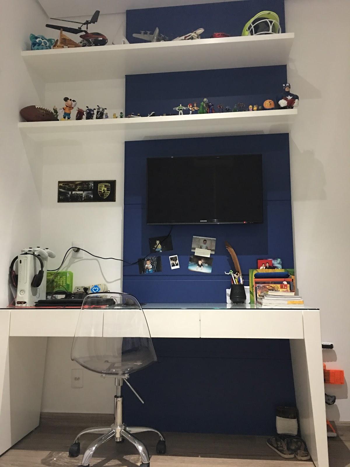 Construindo Minha Casa Clean Quartos De Menina E Menino Decorados  ~ Quarto Decorado Casal Com Tv E Prateleira Quarto Menino